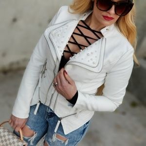 Pearl Detailed Faux Leather Jacket